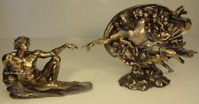 SET OF 2 - CREATION OF ADAM / GOD GENESIS Statue Sculpture Antique Bronze Finish