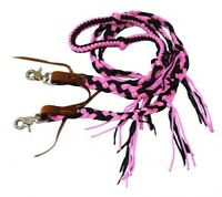 Showman PINK/BLACK 8' Braided Nylon Western Rein w/ Tassels!! NEW HORSE TACK!!