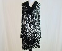 Kensie Black White Abstract Print Tunic Dress Long Sleeve Stretch - Size M