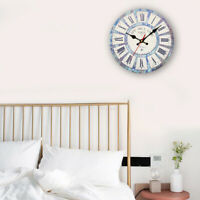 Large Vintage Wooden Wall Clock Shabby Chic Rustic Kitchen Home Antique-Style G