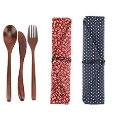 Japanese Style Reusable Wooden Dinnerware Set Tableware Kit Knife & Fork & Spoon