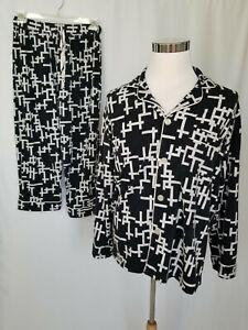 Bed Head Mens Pajama Set Black White Crossword Puzzle Pants Top Medium AS IS
