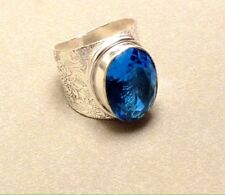Blue Tourmaline Ring Wide Cuff Simulated Sz 8 Floral Engraving Embossed Etching