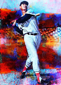 2021 Ted Williams Boston Red Sox Baseball 3/25 Art ACEO Print Card By:Q