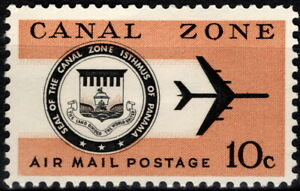 Canal Zone - 1968 - 10 Cents Jet Plane & Canal Zone Seal Airmail Issue #C48 Mint