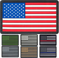 US Flag Tactical PVC Patch American USA Hook & Loop Uniform Patches Waterproof