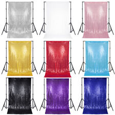 2PCS Glitz Sequin Backdrop Curtain Photography Background for Wedding 4x6/8/10FT