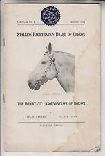 1914 CIRCULAR No1 - STALLION REGISTRATION BOARD OF OREGON - CORVALLIS OREGON
