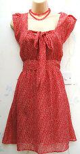 SIZE 16 WW2 40'S VINTAGE STYLE TEA DRESS RED WHITE POLKA DOT SPOT ~ US 12 EU 44
