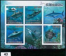 Sao Tome e Principe - ERROR, IMPERF SHEET: SUBMARINE, MARINE LIFE, SHARKS, CORAL