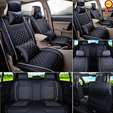 US Black w/White Car Seat Cover 5 Seats Front+Rear Cushion PU Leather +4 Pillows