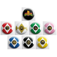 "POWER RANGERS EMBLEMS - 1"" sized pinback buttons - 8 total tv show pin badges"