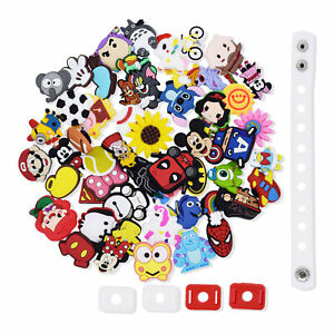 US Stock 50Pcs Different PVC Shoes Charms Ornament Fit Clog Shoes for Kids Gifts