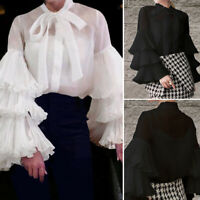 Plus Size Women Retro Victorian Shirt Bow Tie Long Puff Sleeve Office Top Blouse