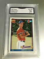 CHIPPER JONES ROOKIE CARD (HOF) 1991 Topps #333 GMA Graded 10 Gem Mint