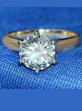 2CT Brilliant Round-Cut Diamond Solitaire Engagement Ring 14K Yellow Gold Over