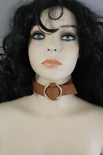 New Women Brown Color Faux Leather Fabric Wide Choker Fashion Necklace Gold Ring