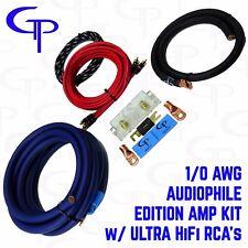 1/0 AWG GAUGE OFHC AMP INSTALL WIRING KIT w/ RCA GP CAR AUDIO BLUE BLACK WIRE