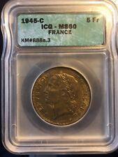 5 francs Lavrillier, bronze-aluminium 1945 C MS60 / SUP60 par ICG