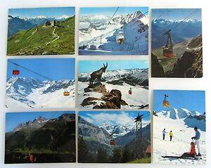 Schweiz Postkarten 8x Gondelbahn Luftseilbahnen ua. St. Moritz, Fiesch-Eggishorn