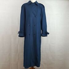 GALLERY Womens Trench Coat Mac Blue UK14 Belted Double Breasted Removable Lining