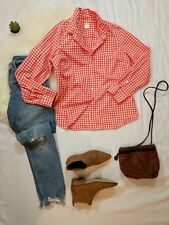 J. CREW Women's Sz 12 Orange Gingham Check Plaid Long Sleeve Button Shirt Top