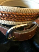 Men's Leather and Canvas Belt, Size 34, Brown/Tan, Leather Inlay