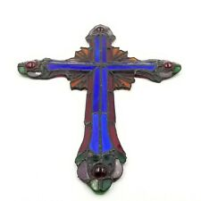 """Vintage Franklin Mint 11"""" Stained Glass Christian Crucifix Cross Nice!"""
