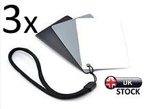 3 x 18% Grey Cards Seconds Photography Digital Black White Colour Balance Camera