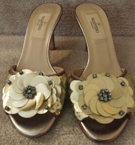 Valentino Garavani Gold Floral Sequin Slide Heeled Sandal Size 35