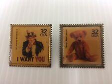(2) Vintage USPS Postal Stamp Lapel Pins