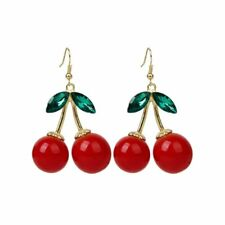1 Pair Women Fashion Cherry Drop Dangles Rhinestone Earrings N2S3