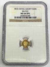 1870 California Fractional Gold Octagonal Liberty BG-922 50c NGC MS 64 DPL