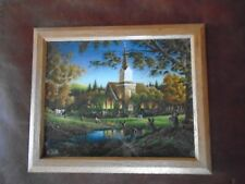 "Terry Redlin ""Sunday Morning"" Print Church Deer Animals Cabin Rustic Home Decor"
