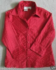 Como Petite Polyester Blend Red Blouse Button Down Front Size PS 3/4 Sleeve