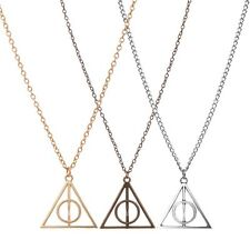 Harry Potter Deathly Hallows BRONZE OR  GOLD Necklaces Triangle Long Chain, USA