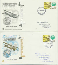 2414 1969 50th Anniversary First Flight to Australia in 1919 on 2 diff FDC's R!