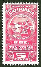 *california us 8 ounce distilled spirits liquor tax revenue stamp mint no gum
