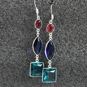 925 Sterling Silver London Blue Topaz Gemstone HandmadeEarrings HerGift BES1500