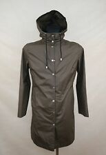 ILSE JACOBSEN HORNBAEK RUBBERCOATED RAINCOAT LONG size XS HOODED WATERPROOF