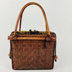 Vintage Wood with Woven Reed Bamboo Handbag Herringbone Design Drawstring Lining
