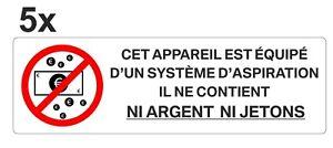 Sticker signalétique plastifié APPAREIL SANS ARGENT monnaie billets - 13cm x 4cm