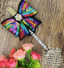 Personalised stunning pram charm in multi color girls boys sequin Bow