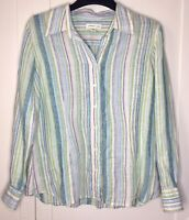 COLDWATER CREEK, WOMEN'S LARGE PASTEL LINEN RAYON STRIPED BUTTON FRONT SHIRT