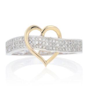 NEW .25ctw Round Brilliant Diamond Ring - Silver & 14k Gold Heart Size 7 1/2