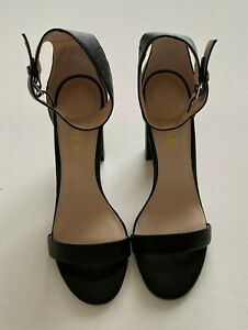 Siren Womens Keeley Leather Block Heel Shoes Black Size 9 RRP $159.95 10.5cm