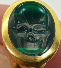 MUSEUM Imperial Russian Plaque d'Or&carved Malachite Skull intaglio wax seal fob