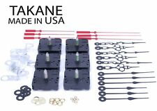 "USA Takane Quartz Clock Movements Kit with Hands, 3/4"" Shaft Length (Set of 6)"