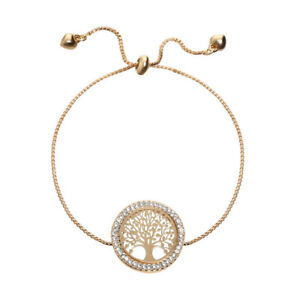 Fashion Glamour Women'S Life Tree Rhinestone Gold Bracelet Fine Jewelry
