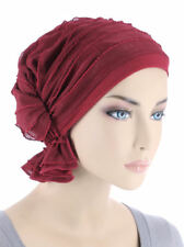 Abbey Cap ® Chemo Hat Cancer Beanie Scarf Ruffle Crimson Red